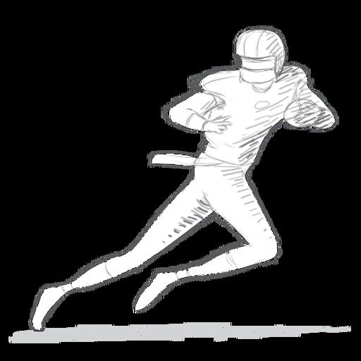 Boceto de traje de casco de jugador bola corriendo