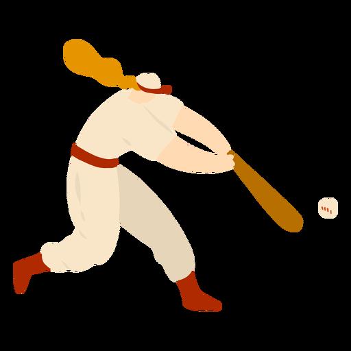 Jugador hembra bate pelota pelo gorra traje plano Transparent PNG