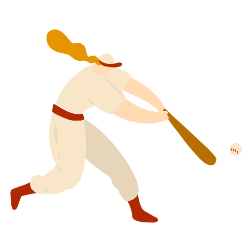 Jugador hembra bate pelota pelo gorra traje plano