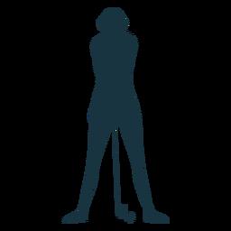 Player female hair ball club cap t shirt skirt striped silhouette