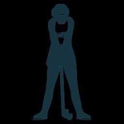 Jugador femenino gorra de pelo pantalones cortos camiseta club bola silueta detallada