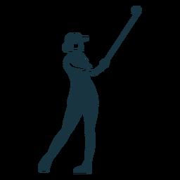 Spieler weibliche Haarkappe Rock T-Shirt Club detaillierte Silhouette