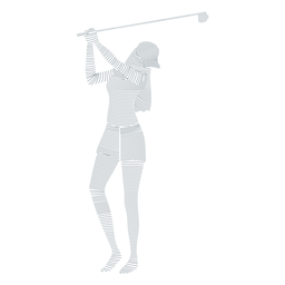 Player female hair club cap skirt t shirt striped silhouette