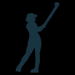 Player female hair club cap t shirt skirt striped silhouette