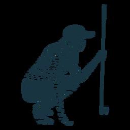 Jugador de pelo femenino club gorra camiseta rayas silueta