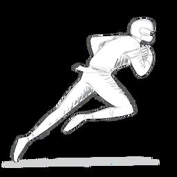 Equipamento de capacete de jogador executando o esboço