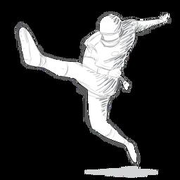 Jugador pierna bota casco traje boceto