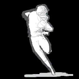 Jugador corriendo pelota casco traje boceto