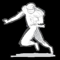 Jugador corriendo casco pelota equipo boceto