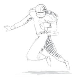 Player running helmet ball outfit sketch