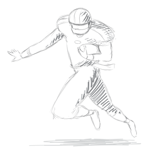 Player running helmet ball outfit sketch Transparent PNG