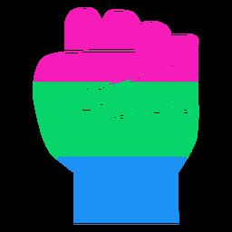 Polisexual mano dedo puño raya plana