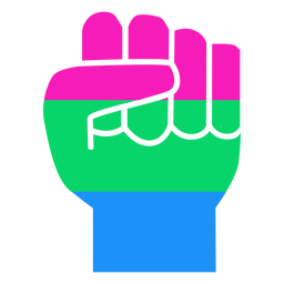 Polysexual mão dedo punho tarja plana