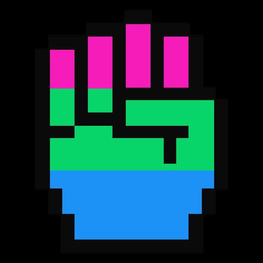 Mão polysexual dedo punho listra pixel plano Transparent PNG