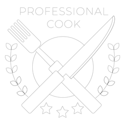 Professional cook fork knife branch star badge line