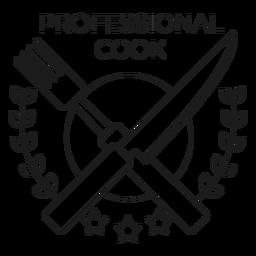 Professional cook fork knife branch star badge line
