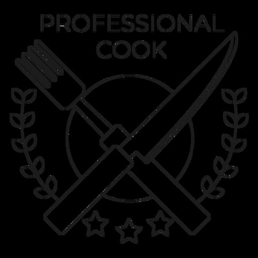 Professional cook fork knife branch star badge line Transparent PNG