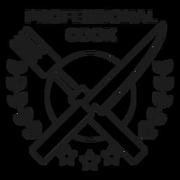 Cocinero profesional tenedor cuchillo rama estrella insignia trazo
