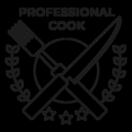 Professional cook fork knife branch star badge stroke Transparent PNG
