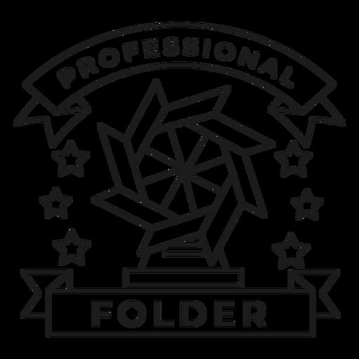Professional folder mill star paper badge stroke Transparent PNG