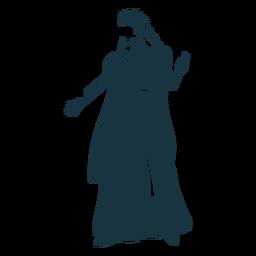 Königin Krone Mantel Handschuh Kleid detaillierte Silhouette