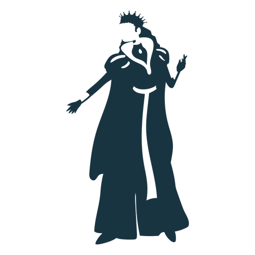 Queen crown mantle glove dress detailed silhouette Transparent PNG