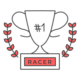 Racer cup number one branch colored badge sticker