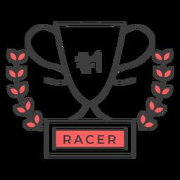 Racer cup número um ramo colorido adesivo