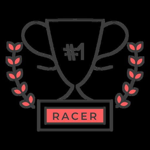 Etiqueta engomada coloreada de la rama del número uno de Racer cup Transparent PNG