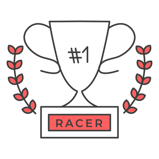 Racer cup número um ramo colorido adesivo Transparent PNG