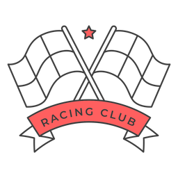 Racing club flag star colored badge sticker