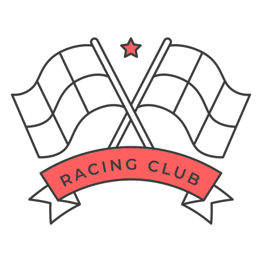 Racing club flag star colored badge sticker Transparent PNG