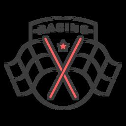 Etiqueta engomada de la insignia del color de la estrella de la bandera de carreras