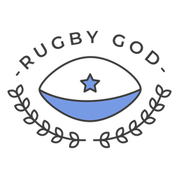 Rugby god ball star colored badge sticker