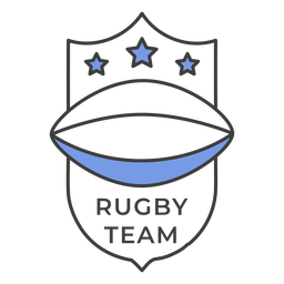 Rugby team ball star colored badge sticker