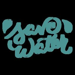 Save water leaf badge sticker