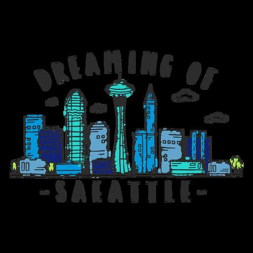 Seattle skyline sticker Transparent PNG
