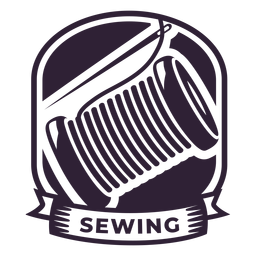 Etiqueta engomada de la insignia del carrete del hilo de aguja de coser