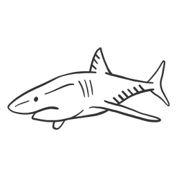 Doodle de barbatana de cauda de tubarão