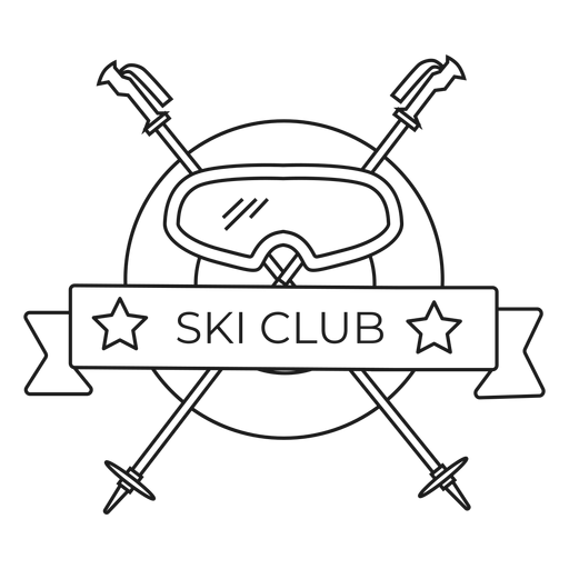Ski club mask pole badge stroke Transparent PNG