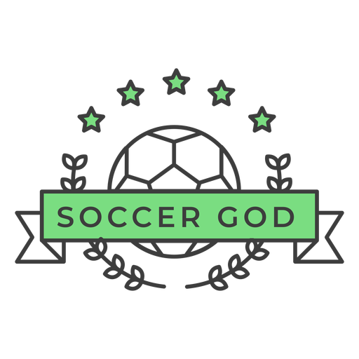 Soccer god ball star branch colored badge sticker Transparent PNG
