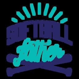 Etiqueta engomada de la insignia del bate del padre del softball