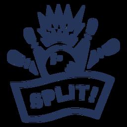 Etiqueta rachada do emblema do pino da bola de bowling