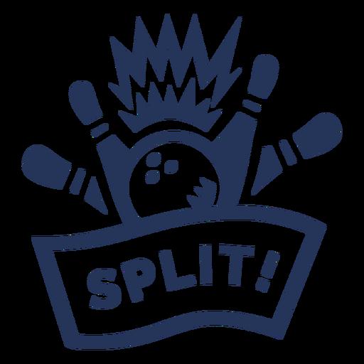 Split bowling ball skittle badge sticker Transparent PNG