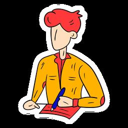Student shirt pen paper lesson sketch