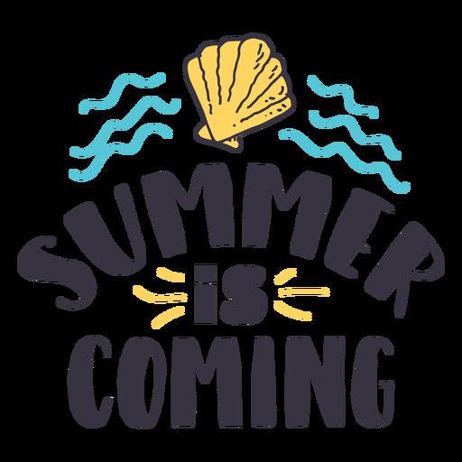Der Sommer kommt Muschelwelle Abzeichen Aufkleber Transparent PNG