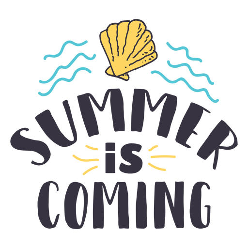 Summer is coming shell wave badge sticker Transparent PNG