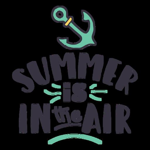El verano está en la etiqueta de la insignia del ancla de aire Transparent PNG