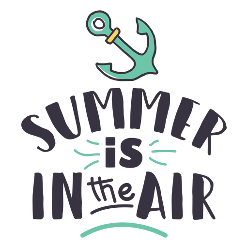 Summer is in the air anchor badge sticker Transparent PNG