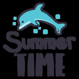 Etiqueta engomada de la insignia del delfín del horario de verano